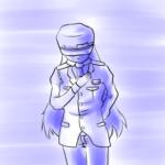 挨拶する警備員